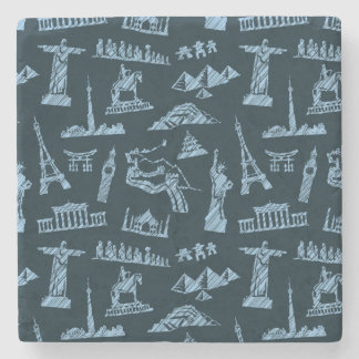 Travel Pattern In Blues Pattern Stone Coaster