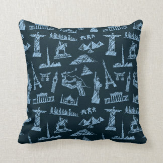 Travel Pattern In Blues Pattern Throw Pillow