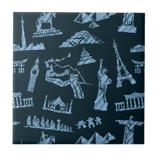 Travel Pattern In Blues Pattern Tile