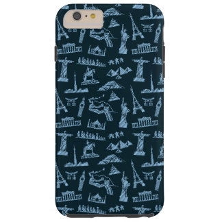 Travel Pattern In Blues Pattern Tough iPhone 6 Plus Case