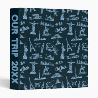 Travel Pattern In Blues Pattern Vinyl Binders