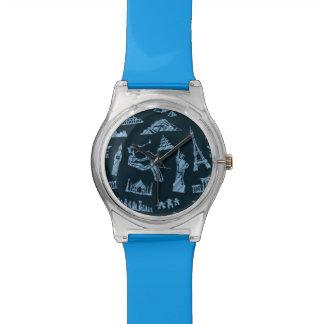 Travel Pattern In Blues Pattern Watch