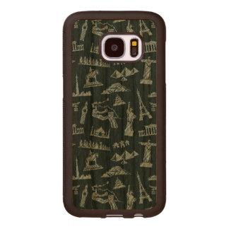 Travel Pattern In Blues Pattern Wood Samsung Galaxy S7 Case