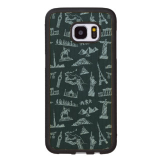Travel Pattern In Blues Pattern Wood Samsung Galaxy S7 Edge Case
