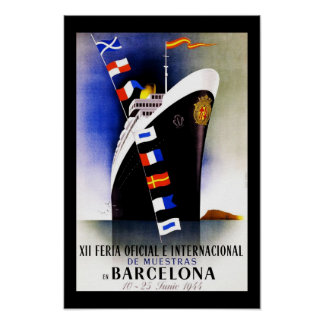 Travel Poster Vintage Barcelona Spain