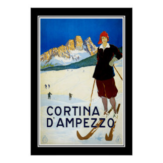 Travel Poster Vintage Cortina D' Ampezzo Skiing