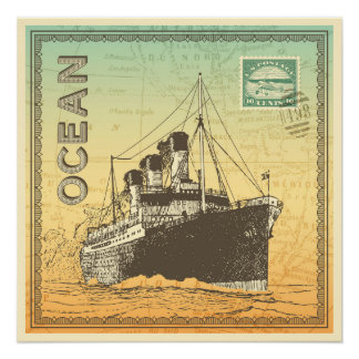 Travel poster with steamship