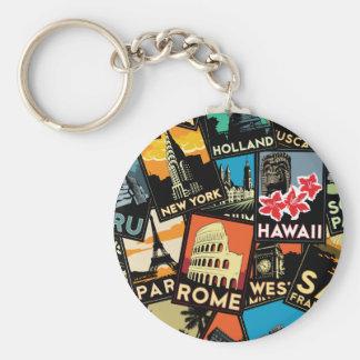 Travel posters retro vintage europe asia usa basic round button keychain