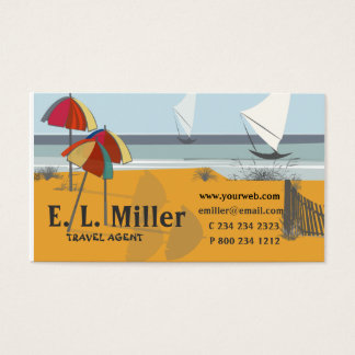 Travel SEASIDE Umbrellas Sailboats Ocean Business Card