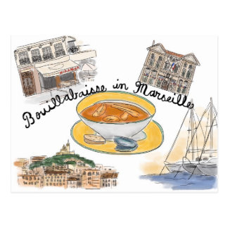 Travel Sketch Postcard: Bouillabaisse in Marseille Postcard