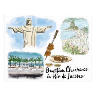 Travel Sketch Postcard: Churrasco - Rio de Janeiro Postcard