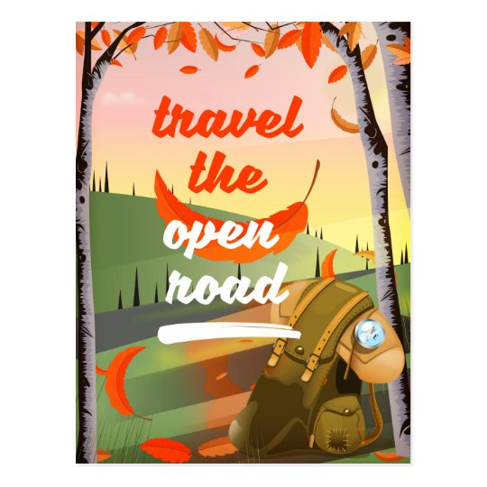 Travel the open road Backpacking Postcard