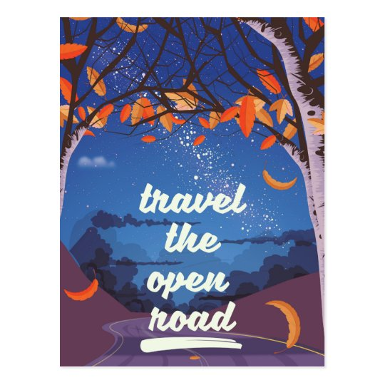 Travel the open road postcard