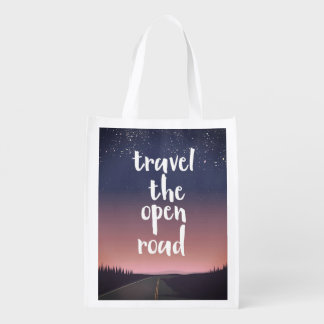 Travel the open road reusable grocery bag