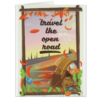 Travel the open road vintage hiking poster card