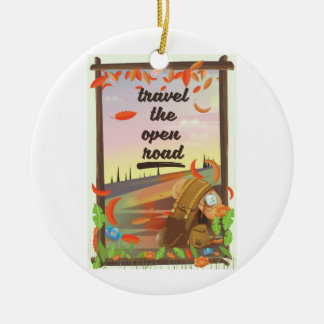 Travel the open road vintage hiking poster ceramic ornament