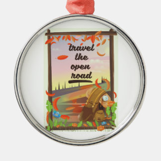 Travel the open road vintage hiking poster metal ornament