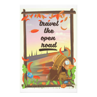 Travel the open road vintage hiking poster stationery