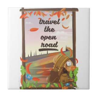 Travel the open road vintage hiking poster tile