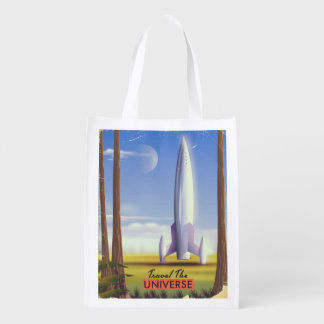 Travel the Universe retro space art. Reusable Grocery Bag