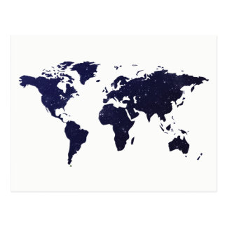 Travel The World | Stars & Galaxies World Map Postcard