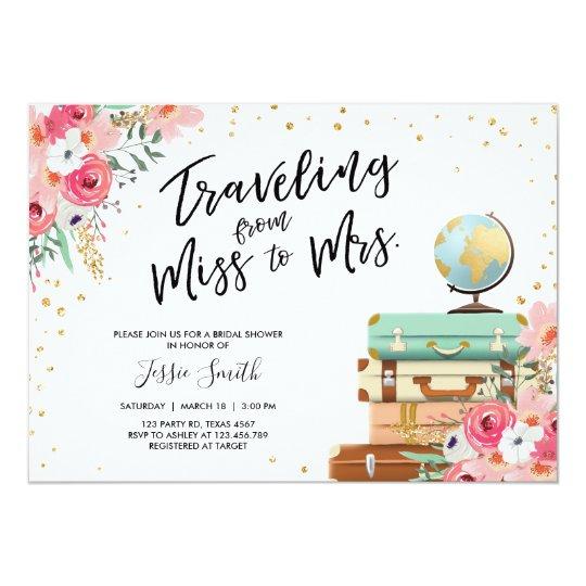 adb400631613 Travel themed Bridal shower invitation Miss to Mrs
