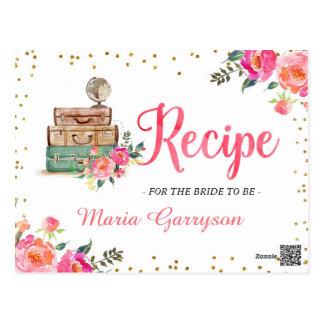 Travel Themed Bridal Shower Recipe Card Postcard
