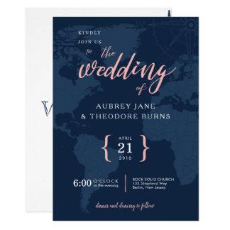 Travel Themed Compass and Globe Wedding Invitation