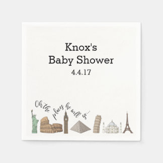 Travel Themed Napkins- Baby Shower Ideas Paper Napkin