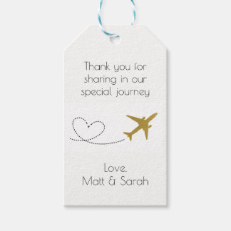 Travel Themed Party Favour Tag- Gold Wedding Gift Tags