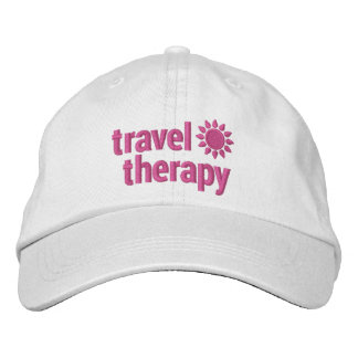 Travel Therapy Embroidered Hat White and Pink