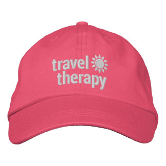 Travel Therapy Embroidered Pink Hat