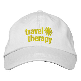 Travel Therapy Hat Embroidered White & Yellow Embroidered Baseball Caps