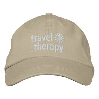 Travel Therapy Hat | Khaki Embroidered Baseball Caps