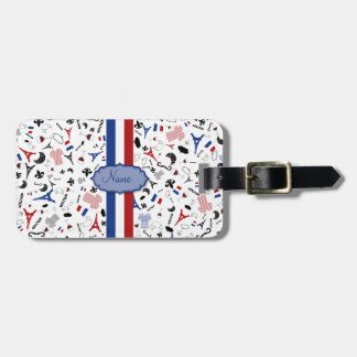 Travel to France, french icons with flag Bag Tag