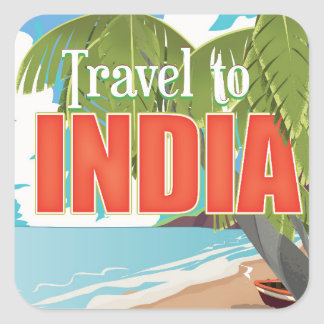 Travel to India travel poster Square Sticker