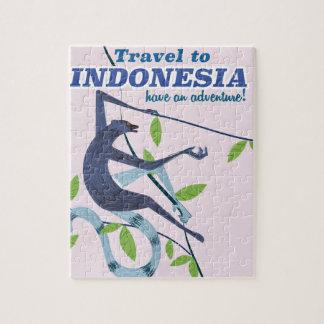 Travel to Indonesia monkey travel print Puzzle