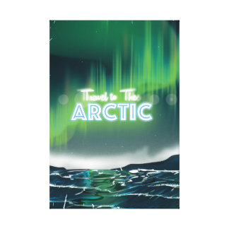Travel to the Arctic Sci-Fi Travel Poster Gallery Wrap Canvas