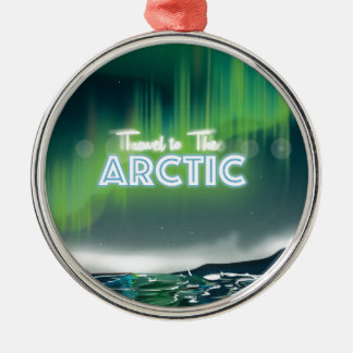 Travel to the Arctic Travel Poster Art Silver-Colored Round Ornament