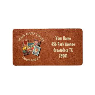 Travel Tours Agency Vintage Postcards Custom Name Label