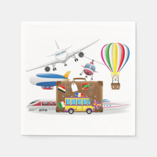 Travel Transport Symbols Disposable Napkins