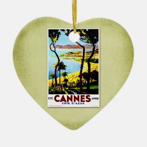Travel Vintage Poster Cannes France Christmas Ornament