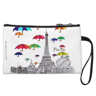 Travel with Umbrellas Paris Effiel Tower Wristlets