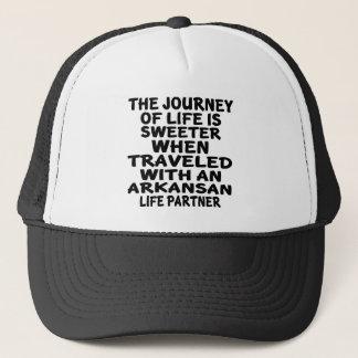Traveled With A Arkansan Life Partner Trucker Hat