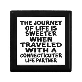 Traveled With A Connecticuter Life Partner Trinket Boxes