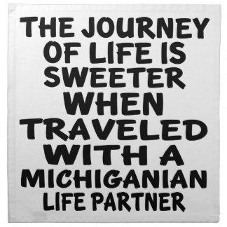 Traveled With A Michiganian Life Partner Napkin