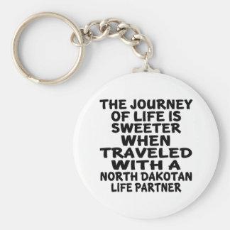Traveled With A North Dakotan Life Partner Basic Round Button Keychain