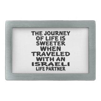Traveled With An Israeli Life Partner Rectangular Belt Buckles