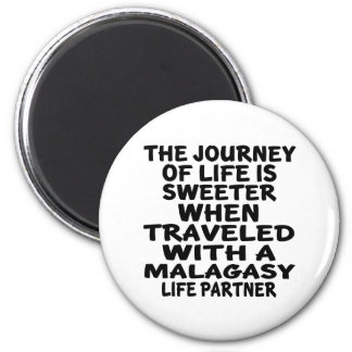 Traveled With An Malagasy Life Partner 2 Inch Round Magnet