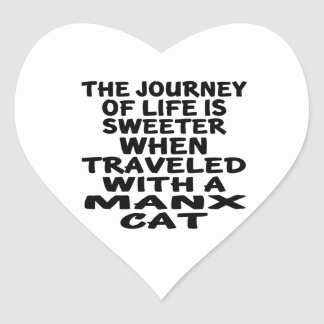 Traveled With Manx Cat Heart Sticker